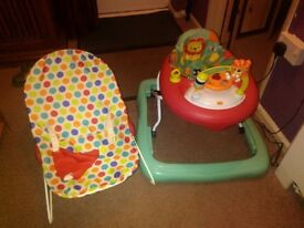 Musical babywalker & wipe clean rocker chair