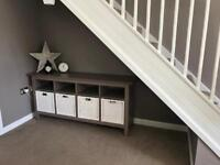 Ikea Hemnes KAUSTBY Console Table in Grey-Brown with Branas Baskets