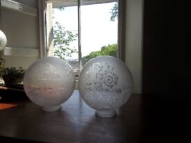 2 large matching etched glass lamp shades