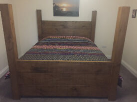 Super King Four Poster Plank Bed from Indigo Furniture - only 7 months old with like new mattress