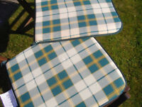 Checked garden chair cushion pads