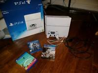 White 2017 PS4, one controller, uncharted 4, no man's sky and watch dogs 2 deluxe edition