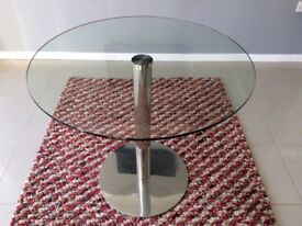 Glass and stainless steel kitchen table 80cm