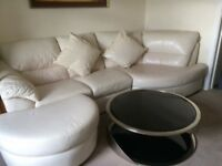 Real lether white corner sofa