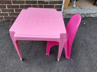 Pink Kids Table & Chair - Free