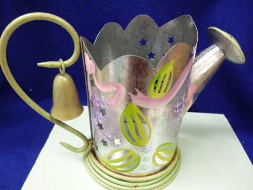 PARTYLITE P7498 ANTIQUED LILAC WATERING CAN CANDLE HOLDER AND SNUFFER 7 X 10.5