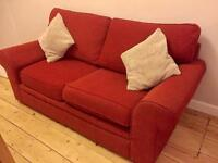 Comfy red sofa and armchair for sale