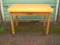 kitchen table pine frame with orange formica top with small side drawer