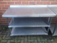 Stainless Steel Table 120cm wide x, 65cm Deep, x 85cm High ,2 Shelves,Excellent Condition