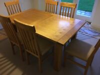 Solid Oak Dining Room furniture- Table and 6 Chairs- Sold as a set
