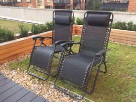 Pair of Argos HOME Reclining Sun Loungers in Black RRP £64.99