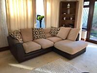 Brown Suede Fabric Corner Sofa Good Condition Reversible Cushions