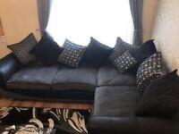 DFS Corner Sofa & Ottoman Footstool