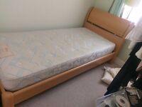 Beech Effect Single Bed Frame (With mattress)