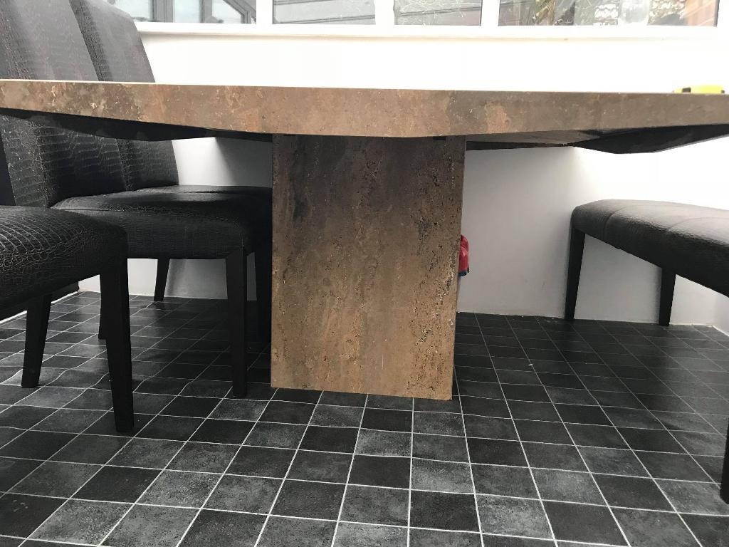 Marble Dining Room Table And Chairs Bench