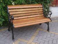NEWLY BUILT UNUSED HEAVY CAST IRON BENCH IN BLACK METALLIC FINISH