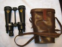 Royal Navy CF41 Binoculars in Leather Case, Made by Barr & Stroud.