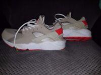 Nike Air Huarache Beige and Crimson