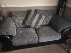 Two Seater Sofas black and grey scatter back