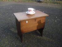 Vintage Oak Small Box Table Slipper Book Storage Coffee 30's Era.
