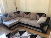 4 seater velvet/faux leather corner sofa with footrest