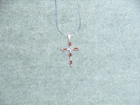 14ct white gold neckless, with 9ct & ruby cross