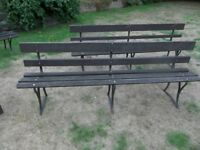 Large Vintage Garden Park Bench metal strap work with mahogany slats 2.2m long