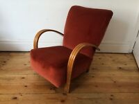 Circa 1930s Art Deco Club Armchair with Bentwood Arms