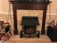 Wood and marble fire surround with Legend gas fire