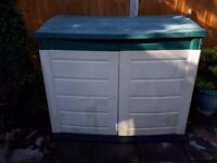 Plastic weatherproof storage shed