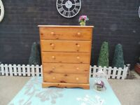 SOLID PINE FARMHOUSE LARGE CHEST OF DRAWERS WITH 5 DOVETAIL DRAWERS