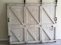 Sliding wooden garage door