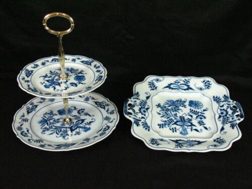 BLUE DANUBE ONION TIER SERVER Plates & SQUARE HANDLED PLATE Rectangle Mark