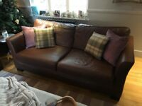 Dark Tan Leather Sofas and arm chair