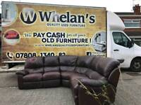 heavy leather reclining corner sofa ( some signs of wear HENCE PRICE)