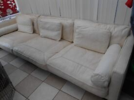leather cream sofa