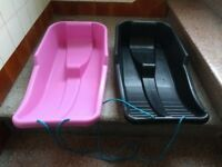 2no Plastic Sledges - Never Used