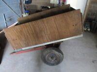 Wooden garden trailer with spare wheel