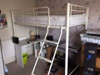 High Sleeper Single Bed White VGC Comfort Ladder