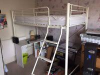 High Sleeper Single Bed White VGC Comfort Ladder