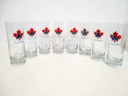 """SET OF 8 CANADIAN CLUB WHISKY 6"""" TALL HIGH BALL LOGO GLASSES NEW IMPERFECT PAINT"""