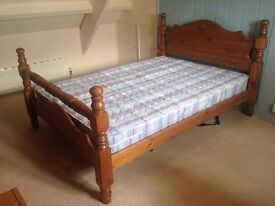 Sturdy Wooden Double Bed Frame with Slats and Headboard -Mattress Included