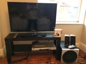 Samsung 32 TV, DVD Player, Speakers, Chromecast and TV Table