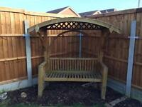 Wooden Bench with Canopy