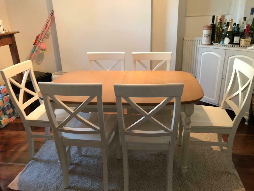 John Lewis Extendable Dining Room Table 6 White Wooden Chairs
