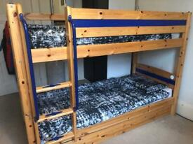 Thuka Bunk Beds with trundle bed and upper bunk lamp