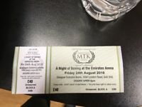 2 MTK boxing event Emirate Arena tickets Friday 24th