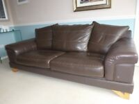 Brown Leather 3 piece suite - 3 seater sofa, large chair and large foot stool.