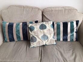 Scatter cushions teal blue living room