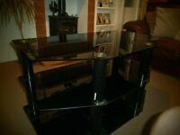 3 Tier Black Glass TV Stand.